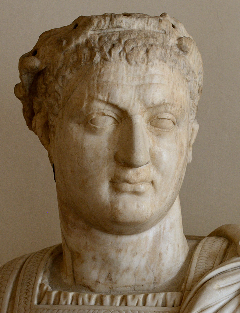 Domitian (close-up). Head: Asia Minor, local school, 84-96 CE. Bust: presumably, by Alessandro Vittoria, 16th cent. Marble. Inv. No. 252. Venice, National Archaeological Museum
