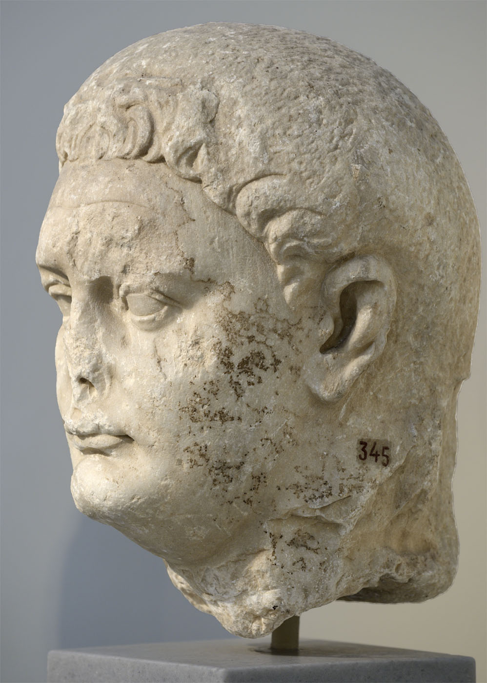 Portrait head of Domitian. Pentelic marble. 81—96 CE. Inv. No. 345. Athens, National Archaeological Museum