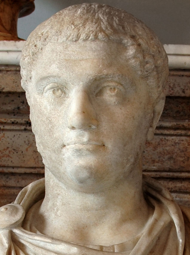 Portrait of Geta. Detail. Marble. Ca. 208 CE. Height 78 cm. Inv. No. MC468. Rome, Capitoline Museums, Palazzo Nuovo, Hall of the Emperors