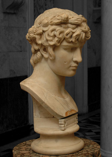 Portrait of Antinous as Dionysos. Marble. Second quarter of the 2nd century. Inv. No. A. 27. Saint Petersburg, The State Hermitage Museum
