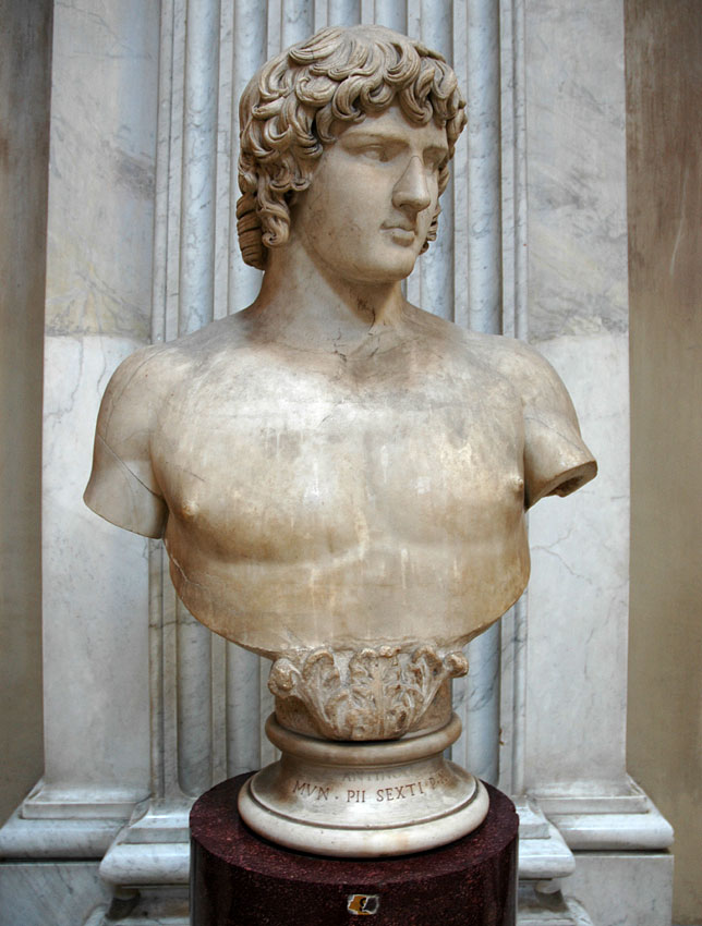 Colossal bust of Antinous. Marble. 130s CE. Inv. No. 251. Rome, Vatican Museums, Pius-Clementine Museum, Round Room, 9