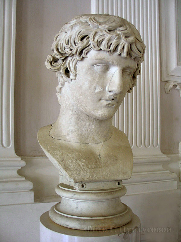 Bust of Antinous. Marble. The first half of the 2nd century. Gatchina, The Gatchina Palace, White hall