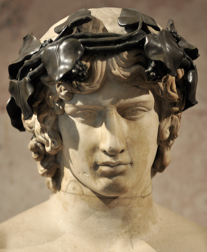 Portrait of Antinous. Detail. Marble. About the middle of 2nd century. Inv. No. A431. Saint Petersburg, The State Hermitage Museum