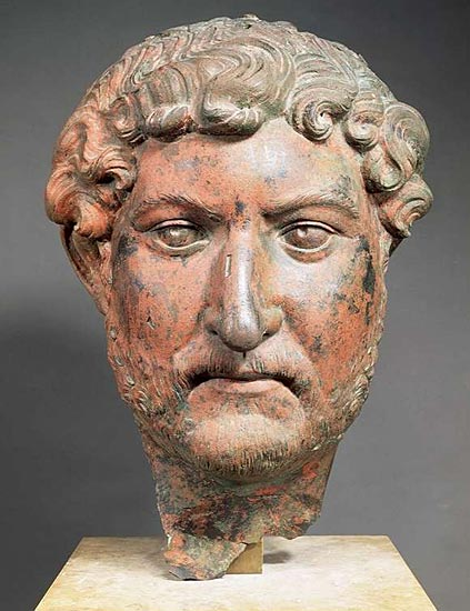 Head of Hadrian. Bronze. Paris, Louvre Museum
