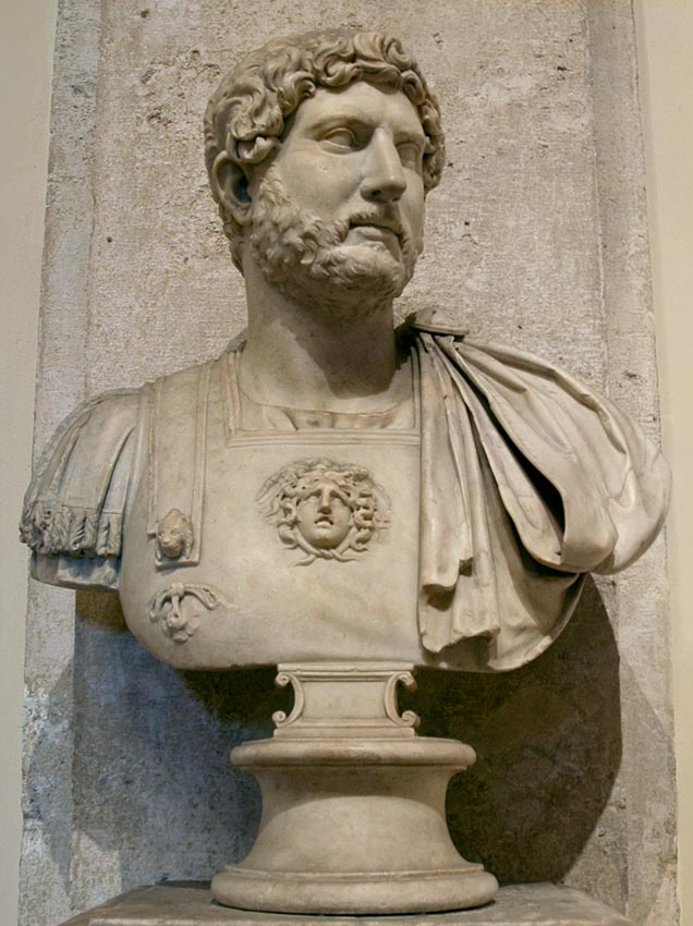 Bust of Hadrian in lorica. Marble. 117—138 CE. Inv. No. MC817. Rome, Capitoline Museums, Palazzo dei Conservatori, Monumental Staircase