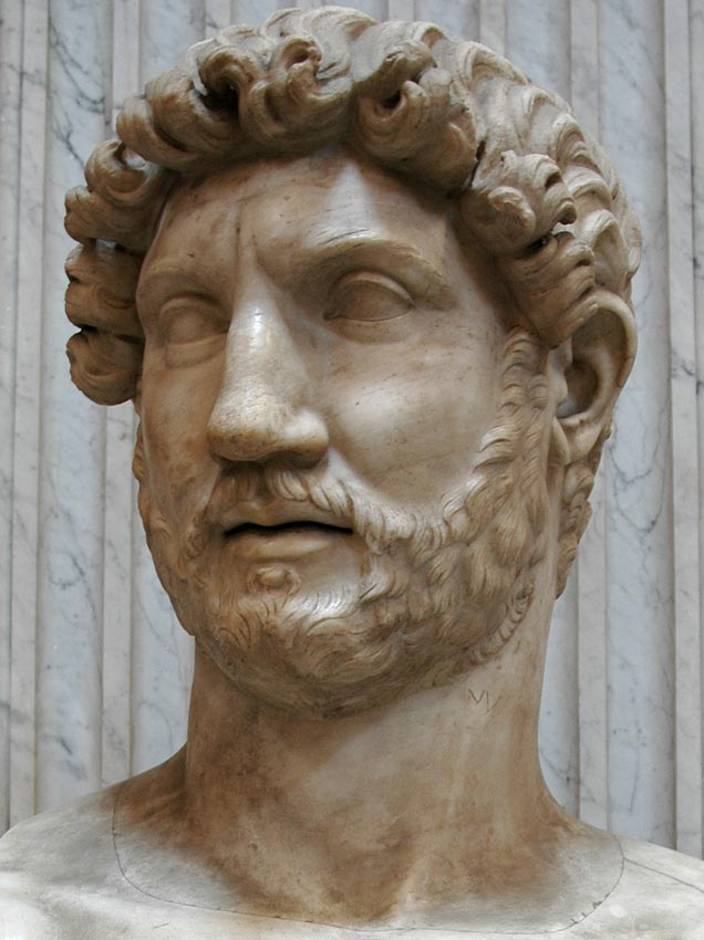Colossal head of Hadrian. Detail. Marble. 130—139 CE. Inv. No. 253. Rome, Vatican Museums, Pius-Clementine Museum, Round Room, 7