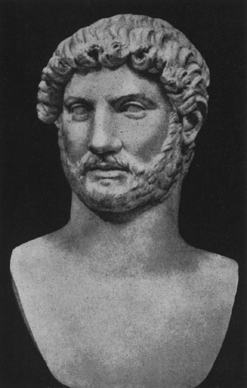 Colossal head of Hadrian. Marble. 130s CE. Rome, Vatican Museums, Pius-Clementine Museum, Round Room, 7