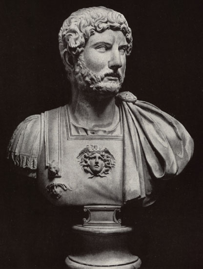 Bust of Hadrian. Marble, 120s—130s CE. Rome, Capitoline Museums, Palazzo dei Conservatori, Monumental Staircase