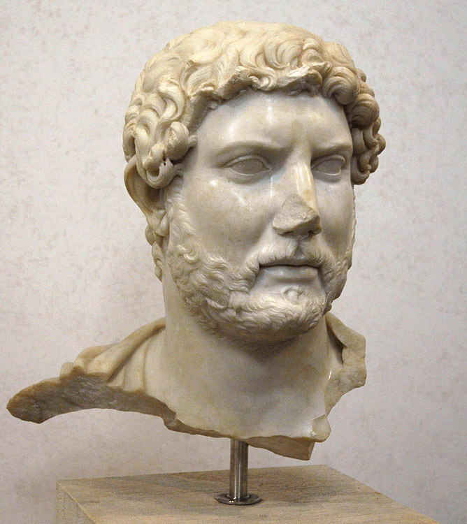Head of Hadrian. Marble. 117—138 CE.  Inv. No. 124491. Rome, Roman National Museum, Palazzo Massimo alle Terme