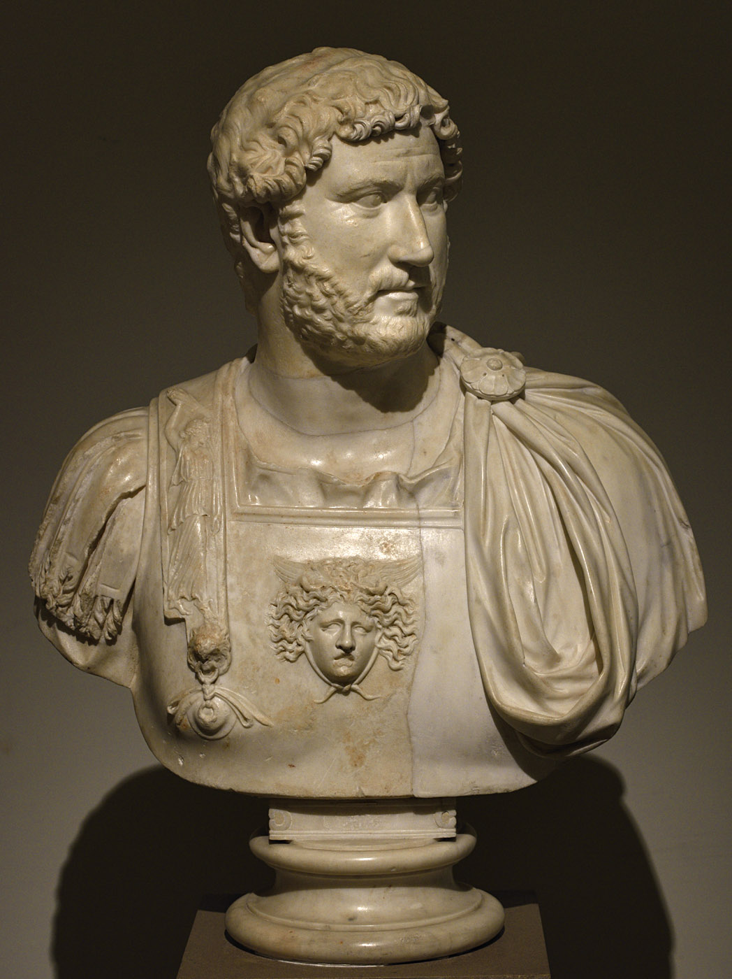 Hadrian set in a bust with cuirass. Marble. Ca. 130 CE. Inv. No. 6067. Naples, National Archaeological Museum