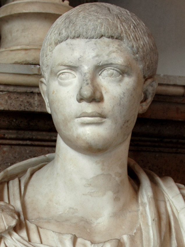 Male portrait. Detail. Marble. Ca. 220 CE. Height 85 cm. Inv. No. MC483. Rome, Capitoline Museums, Palazzo Nuovo, Hall of the Emperors