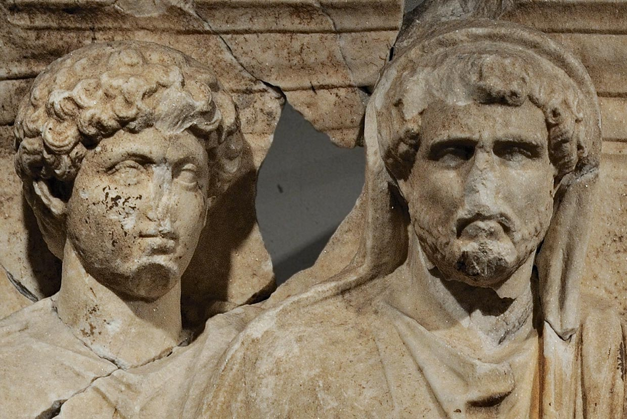 "Marcus Aurelius and Antoninus Pius. Detail of a scene of the cycle ""Adoption"" of the Parthian frieze from Ephesos. Dolomitic marble from Thasos. After 169 (166?) CE. Vienna, Ephesos Museum"