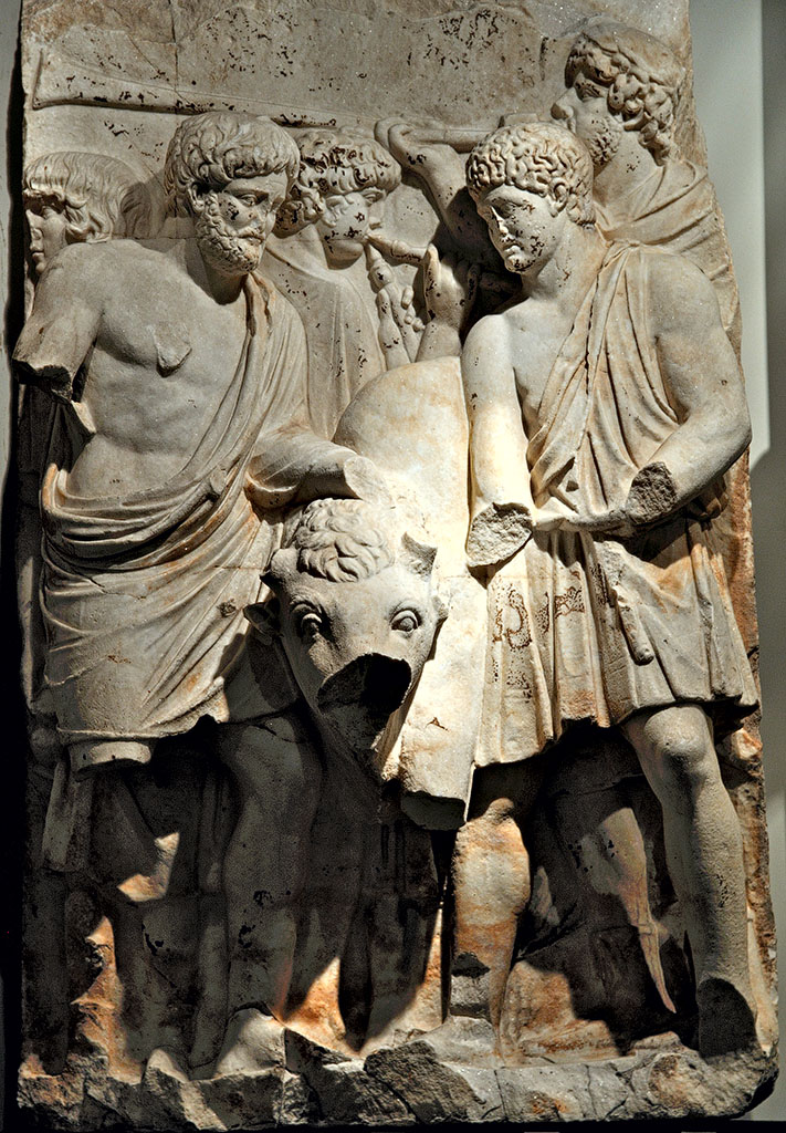 """Sacrifice. A scene of a cycle """"Adoption"""" of the Parthian frieze from Ephesos. Dolomitic marble from Thasos. After 169 (166?) CE. Vienna, Ephesos Museum"""