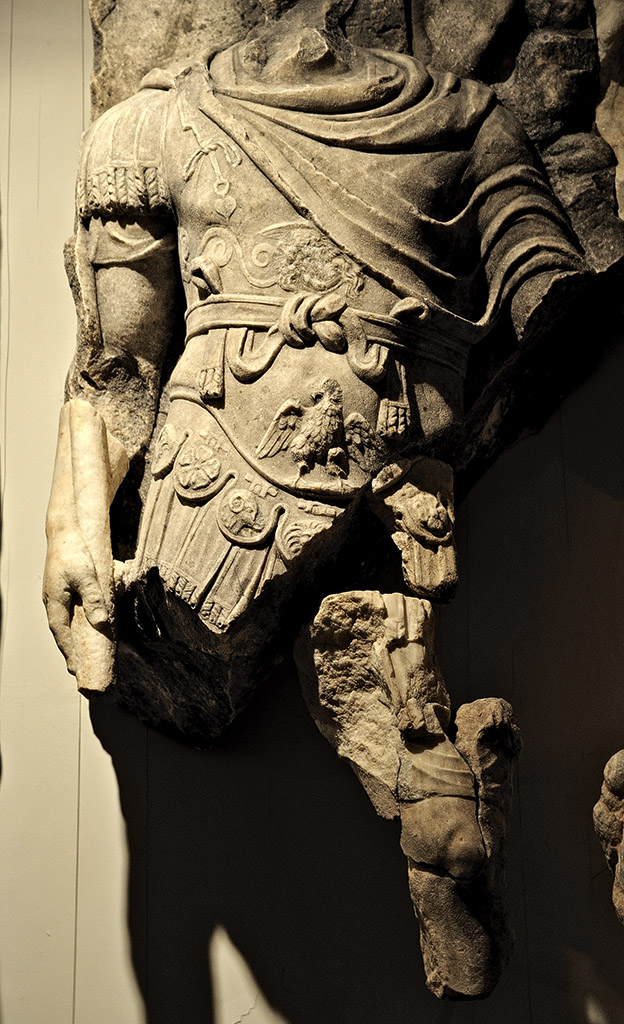 "Lucius Verus as Mars (?). Scene from a cycle ""Apotheosis of Lucius Verus"" of the Parthian frieze from Ephesos. Dolomitic marble from Thasos. After 169 (166?) CE. Vienna, Ephesos Museum"
