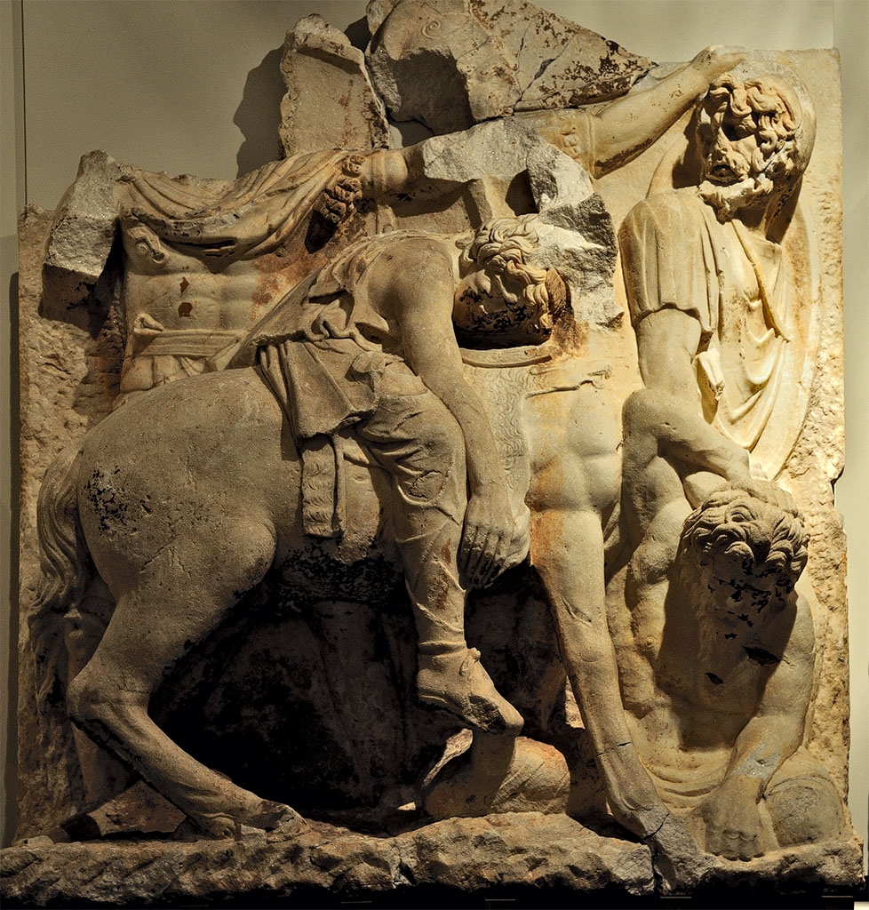 "Wounded Parthian general on horseback. Scene from a cycle ""Parthian war"" of the Parthian frieze from Ephesos. Dolomitic marble from Thasos. After 169 (166?) CE.  Inv. No. 858. Vienna, Ephesos Museum"