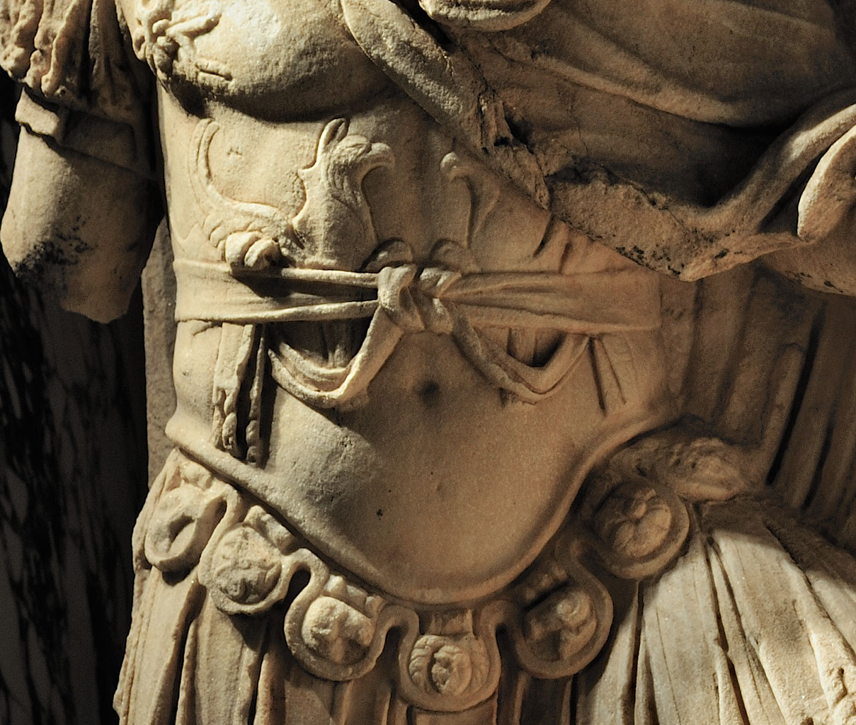 "Apotheosis of Lucius Verus (detail). Scene from a cycle ""Apotheosis"" of the Parthian frieze from Ephesos. Dolomitic marble from Thasos. After 169 (166?) CE. Inv. No. I 867. Vienna, Ephesos Museum"