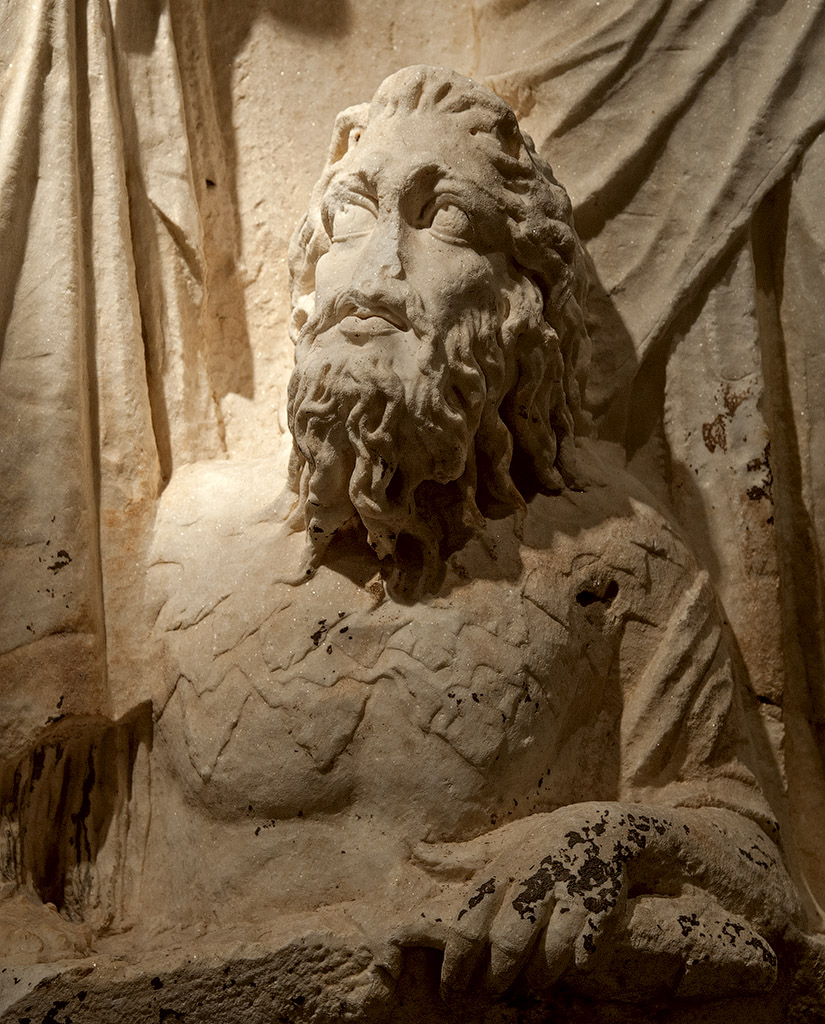 "River god (a close-up of relief ""Personifications of Cities: Ktesiphon and Seleukia(?), with a River God"". Scene from a cycle ""Personifications of Cities of Roman Empire"" of the Parthian frieze from Ephesos. Dolomitic marble from Thasos. After 169 (166?) CE. Vienna, Ephesos Museum"