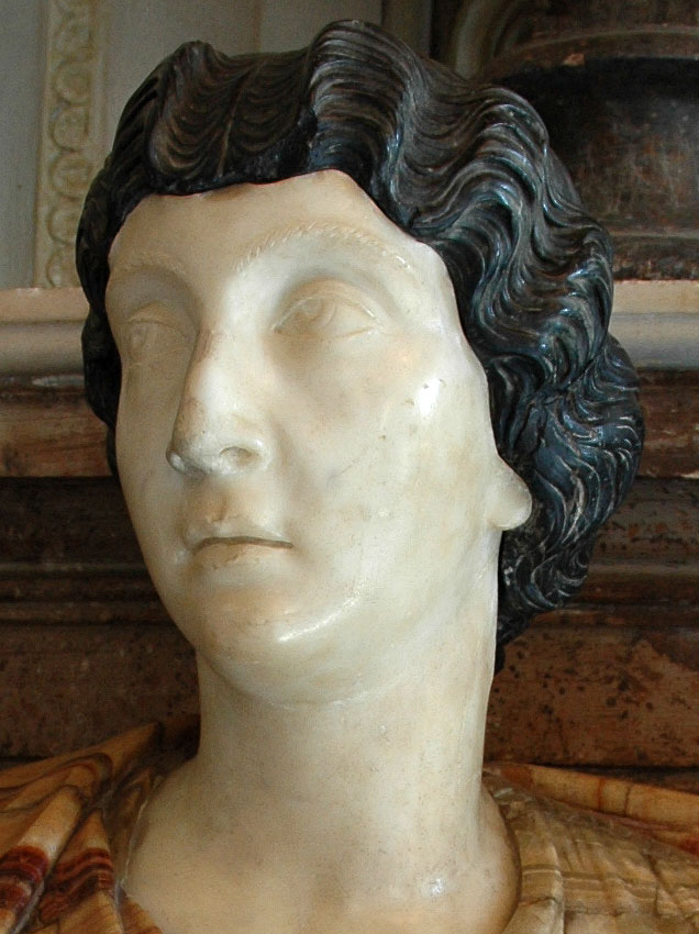 Female bust. Detail. (Lucilla, the wife of Lucius Verus?) Marble. 150—160 CE. Inv. No. MC469. Rome, Capitoline Museums, Palazzo Nuovo, Hall of the Emperors