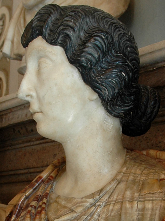 Female bust. Detail. (Lucilla, the wife of Lucius Verus?) Marble. 150—160 CE. Height 81 cm. Inv. No. MC469. Rome, Capitoline Museums, Palazzo Nuovo, Hall of the Emperors