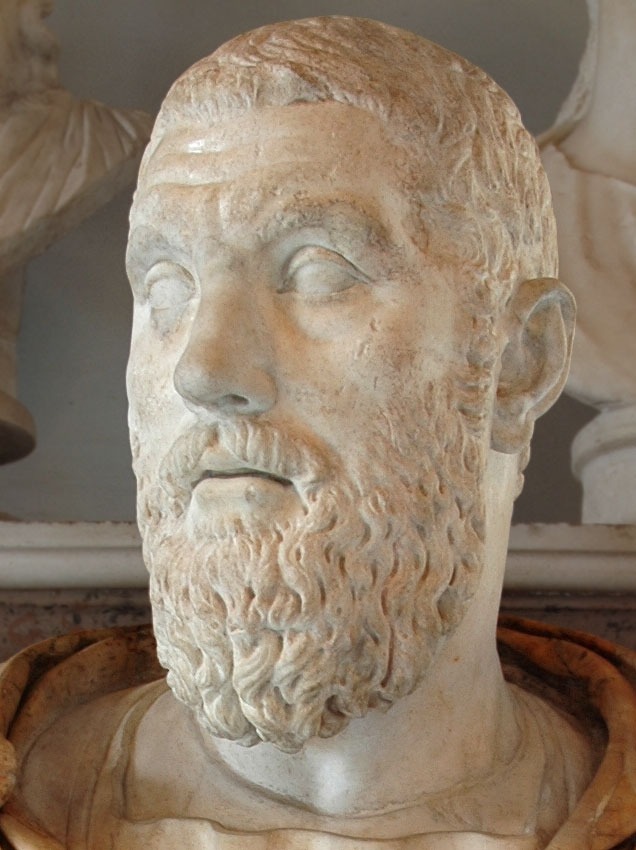 Macrinus. Detail. Marble. 217—218 CE. Inv. No. MC460. Rome, Capitoline Museums, Palazzo Nuovo, Hall of the Emperors