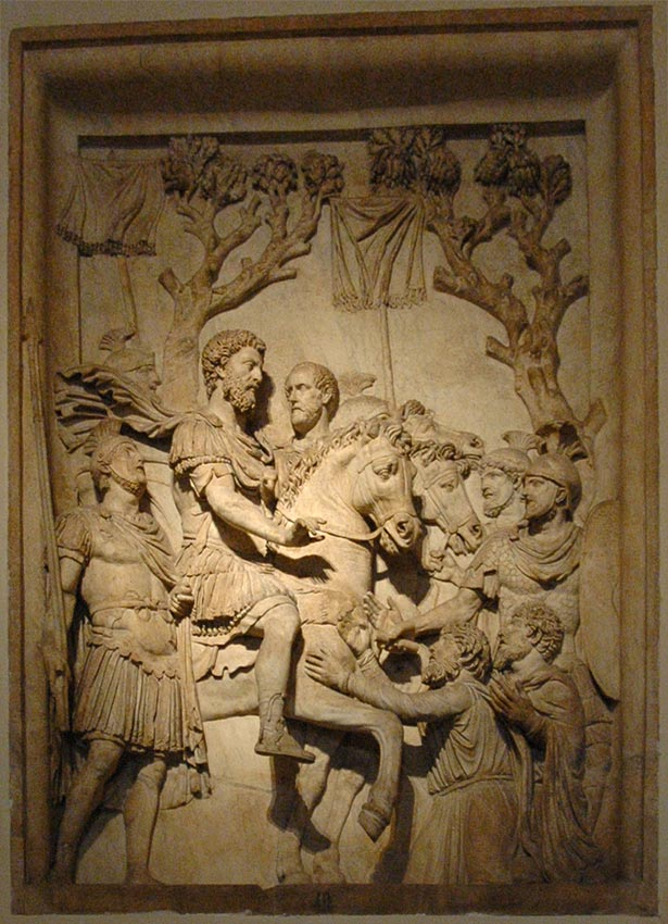 Charity of emperor. Relief from the monument in honour of divine Marcus Aurelius. Marble. 2nd century. Rome, Capitoline Museums, Palazzo dei Conservatori, Monumental Staircase