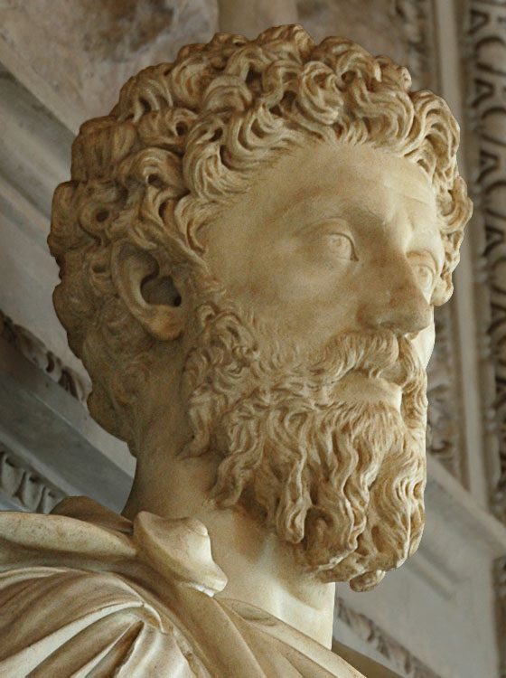 Marcus Aurelius. Marble. 161—180 CE. Inv. No. MC448. Rome, Capitoline Museums, Palazzo Nuovo, Hall of the Emperors