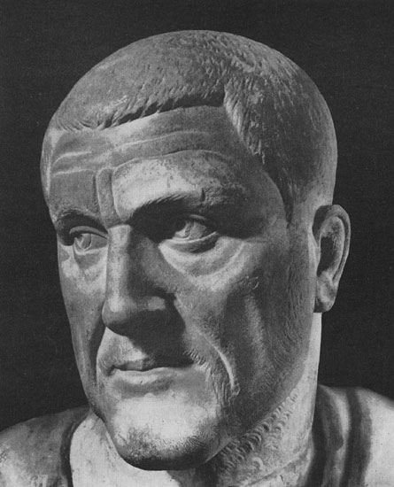 Bust of Maximinus Thrax. Marble. Ca. 235 CE. Rome, Capitoline Museums, Palazzo Nuovo, Hall of the Emperors