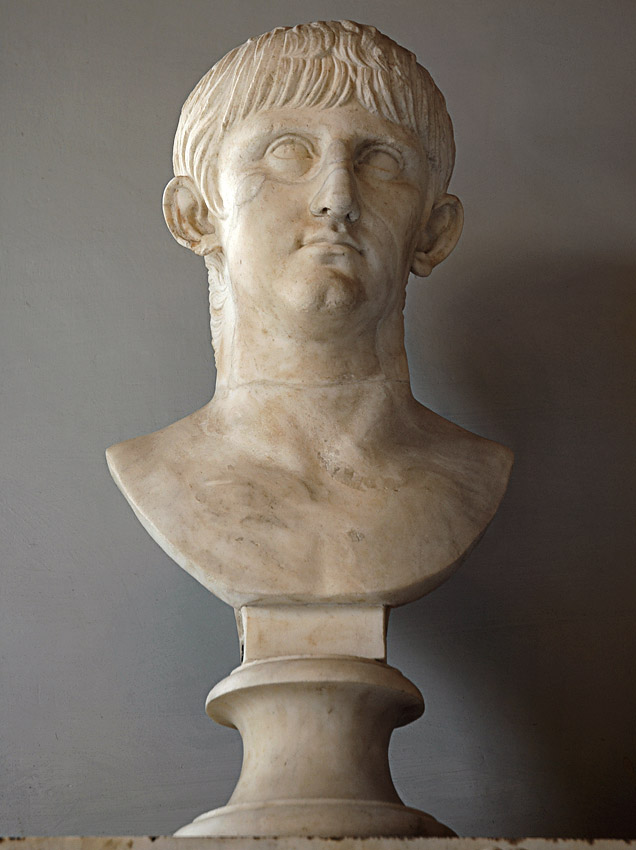 Portrait of youthful Nero. Marble. Ca. 55 CE.  Inv. No. MC418. Rome, Capitoline Museums, Palazzo Nuovo, Hall of the Emperors