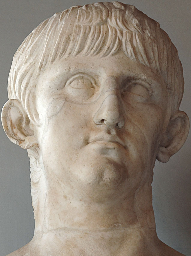 Portrait of youthful Nero. Detail. Marble. Ca. 55 CE.  Inv. No. MC418. Rome, Capitoline Museums, Palazzo Nuovo, Hall of the Emperors
