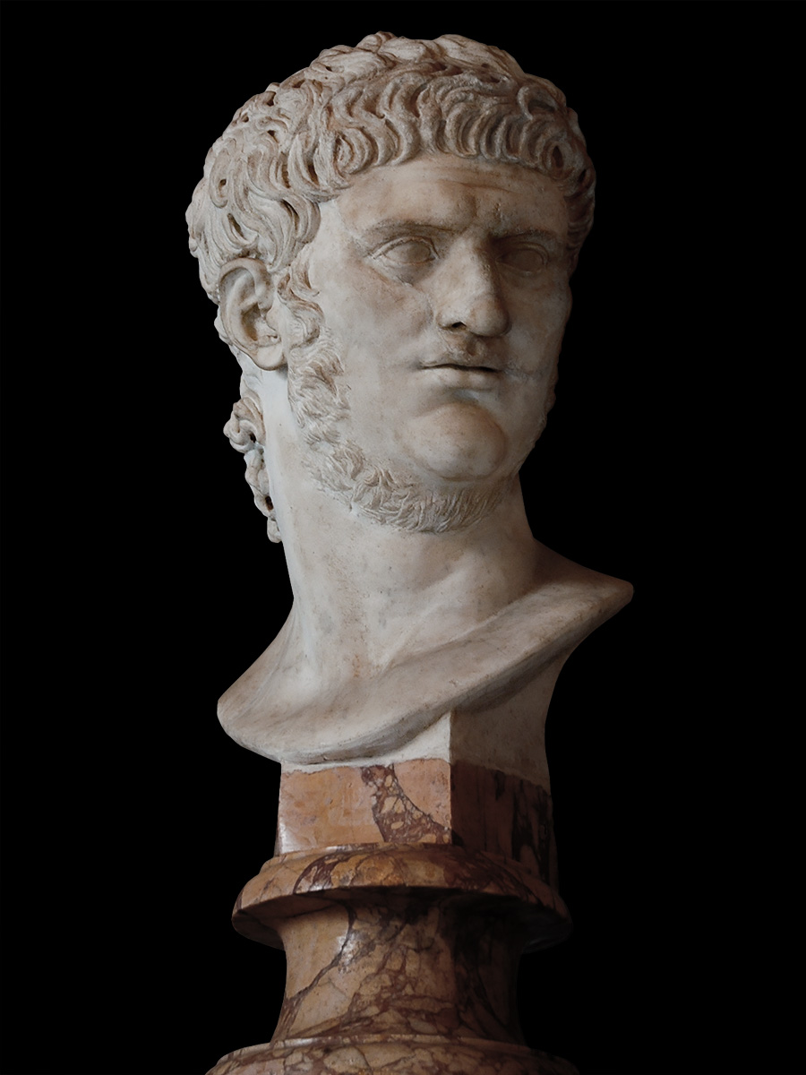 Bust of Nero. Marble. Restoration of the 17th century. Part of face is ancient.  Inv. No. MC427. Rome, Capitoline Museums, Palazzo Nuovo, Hall of the Emperors