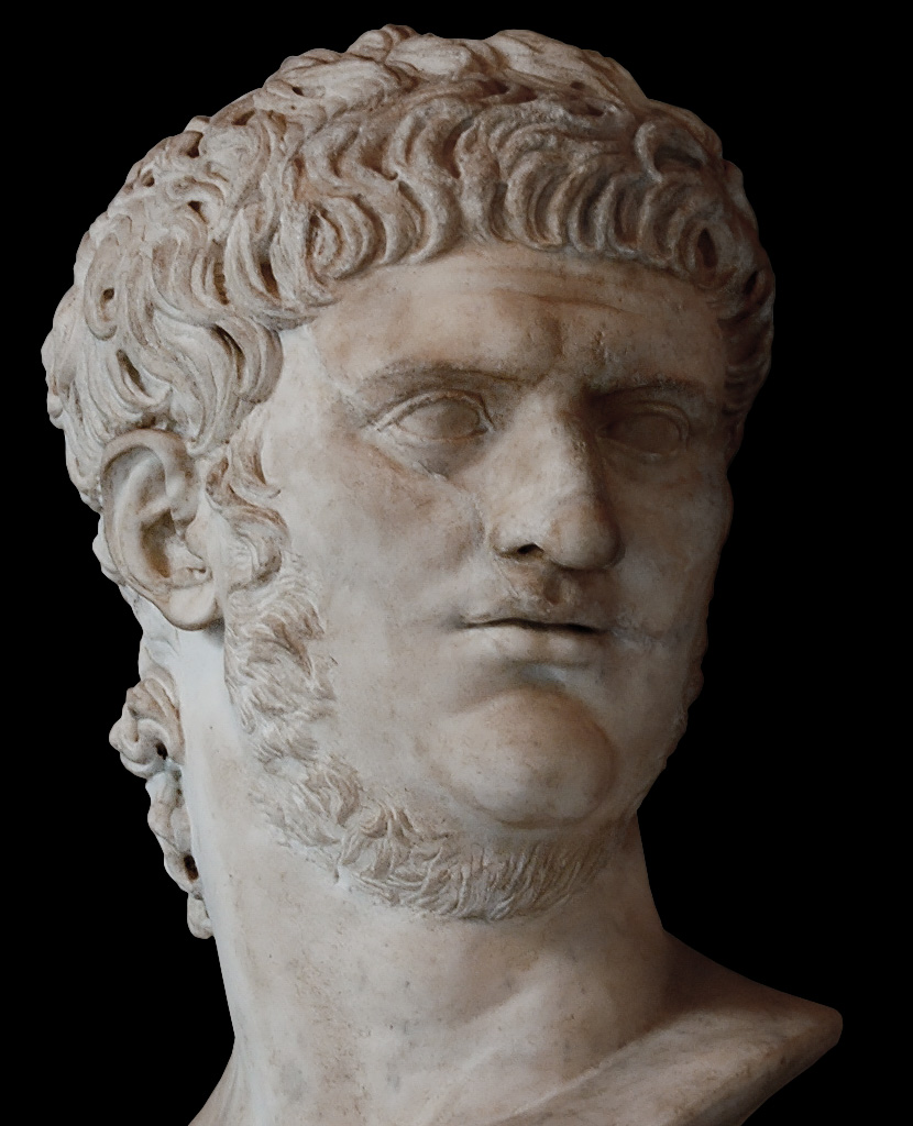 Bust of Nero. Detail. Marble. Restoration of the 17th century. A part of the face is ancient.  Inv. No. MC427. Rome, Capitoline Museums, Palazzo Nuovo, Hall of the Emperors