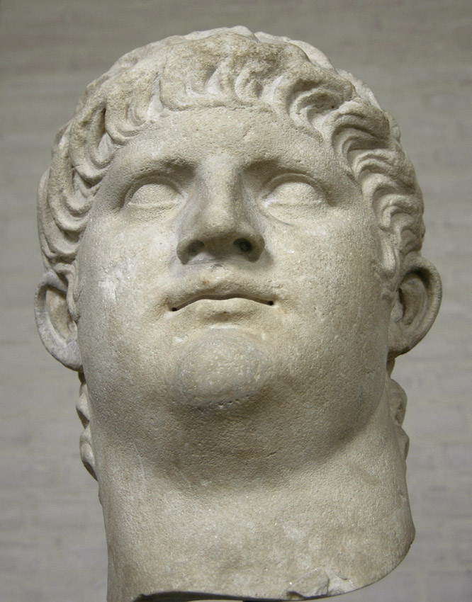 Head of the emperor Nero. From the colossal statue, height ca. 2.40 m. Marble. After 64 CE.  Inv. No. 321. Munich, Glyptotek
