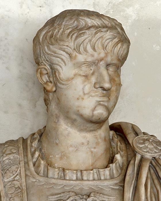 Bust of the emperor Nero (detail). Marble. Inv. No. 112 (1914). Florence, Gallery of Uffizi