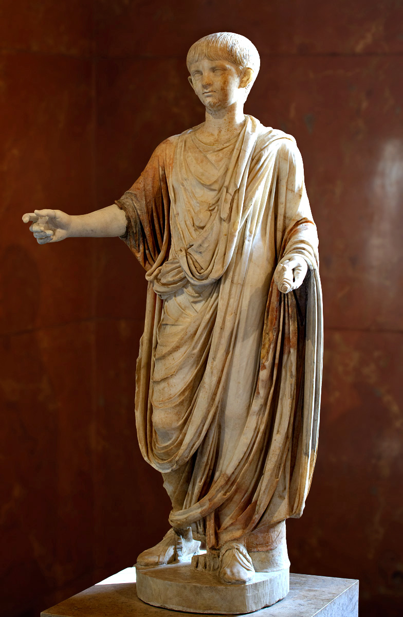 Statue of infant Nero in toga, with bulla, holding a scroll. Fine-grained marble. Ca. 50 CE.  Inv. No. MR 337 (Ma 1210; N 1580). Paris, Louvre Museum