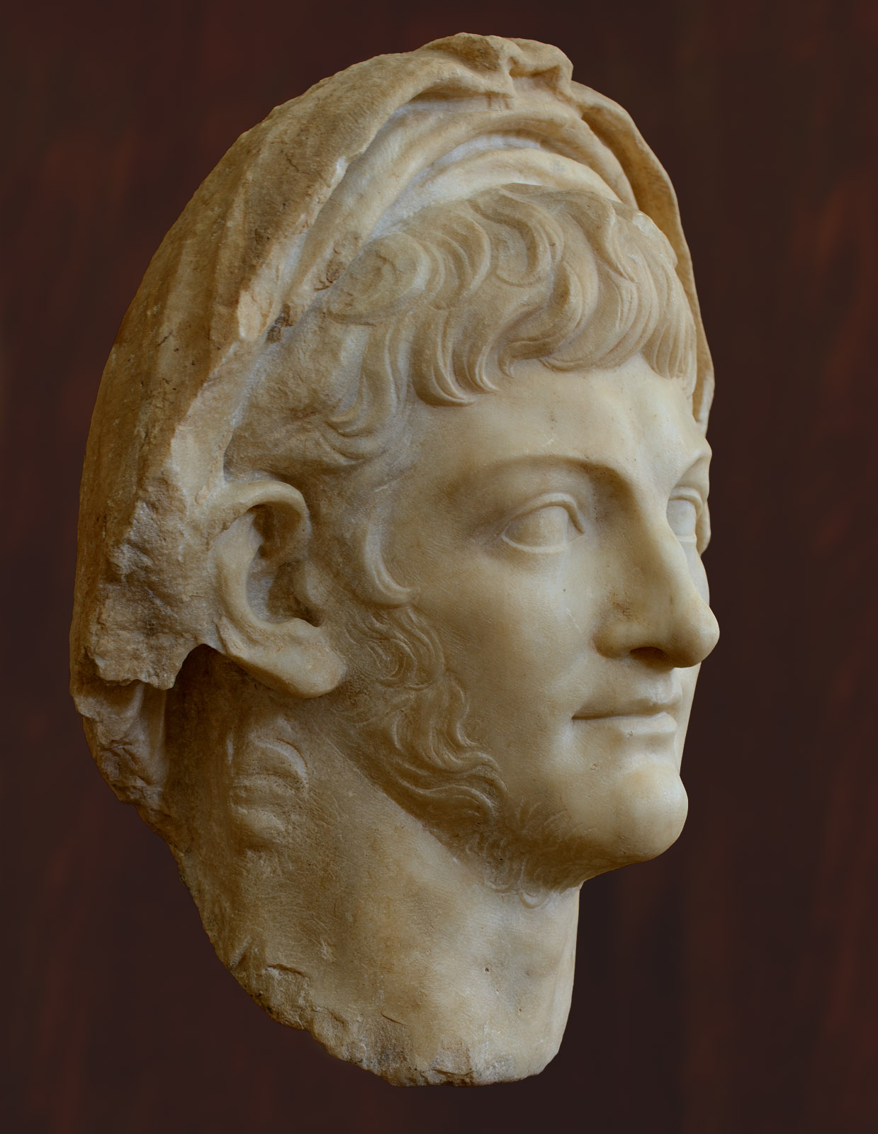 Portrait head of the emperor Nero. Marble. Ca. 60 CE. Inv. No. S-1088. Corinth, Archaeological Museum of Ancient Corinth
