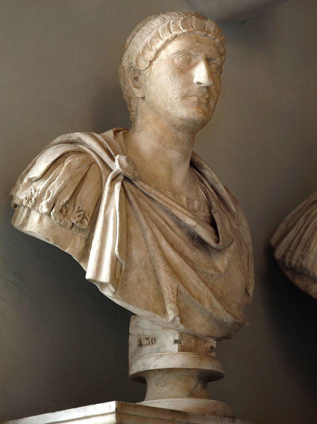 Male portrait. (Otho?) Marble. Second half of the 1st century.  Inv. No. MC430. Rome, Capitoline Museums, Palazzo Nuovo, Hall of the Emperors