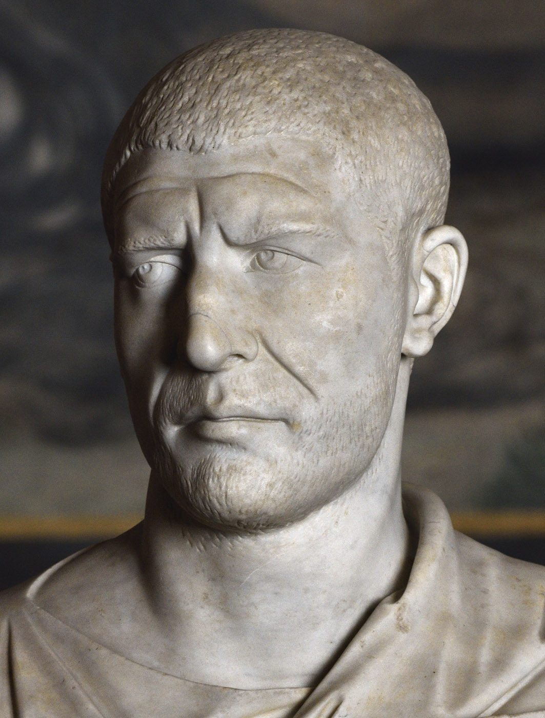 Philip the Arab (close-up). White marble. 245—249 CE. Inv. No. 2216. Rome, Vatican Museums, Chiaramonti Museum, New wing, 121