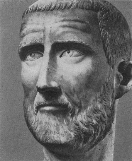 Head of a man (maybe, portrait of Probus). Marble. 270s CE. Rome, Capitoline Museums, Palazzo Nuovo, Hall of the Emperors