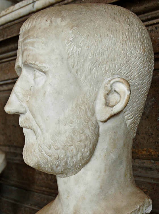 Probus. Detail. Marble. 276—282 CE. Inv. No. MC493. Rome, Capitoline Museums, Palazzo Nuovo, Hall of the Emperors
