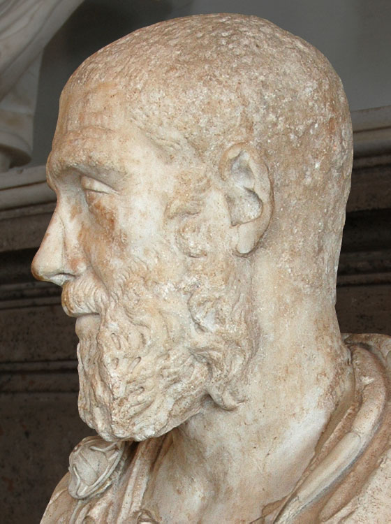 Pupienus. Marble. 238 CE. Inv. No. MC477. Rome, Capitoline Museums, Palazzo Nuovo, Hall of the Emperors