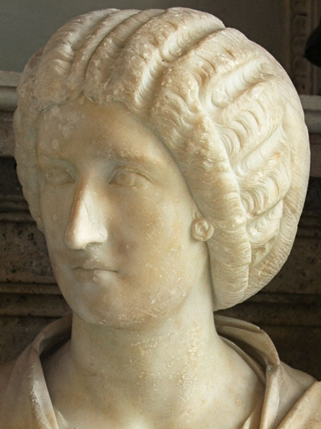 Female bust (Julia Domna?). Detail. Marble. Ca. 200 CE. Inv. No. MC280. Rome, Capitoline Museums, Palazzo Nuovo, Hall of the Emperors