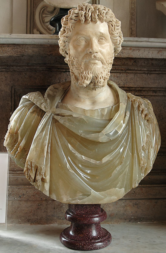 Septimius Severus. The head is marble, the bust is yellow-greenish alabaster. 200—210 CE. Height 85 cm. Inv. No. MC461. Rome, Capitoline Museums, Palazzo Nuovo, Hall of the Emperors