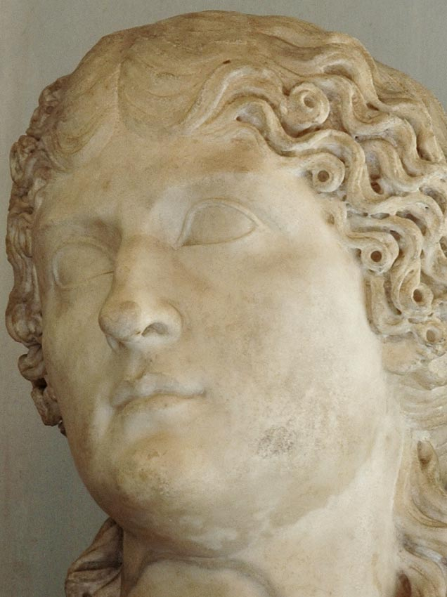 Agrippina the Elder. Detail. Marble. 10—20 CE. Height 59 cm. Inv. No. MC421. Rome, Capitoline Museums, Palazzo Nuovo, Hall of the Emperors