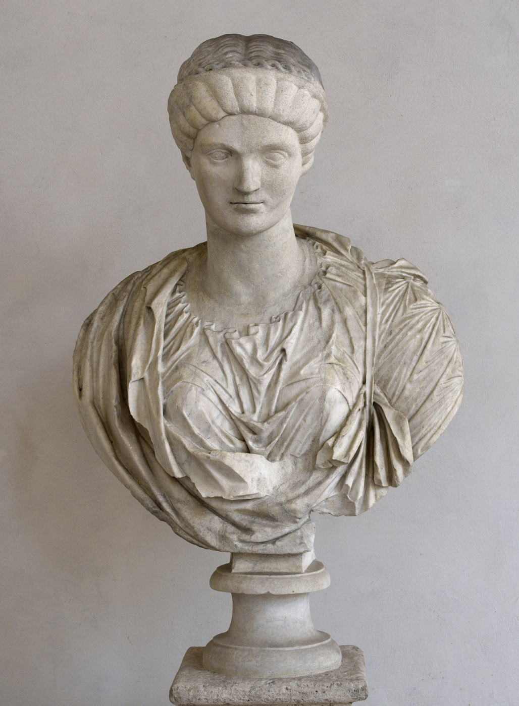 Antonia Minor. Marble. Late 1st cent. BCE — early 1st cent. CE. Rome, Roman National Museum, Baths of Diocletian, Chiostro piccolo della Certosa