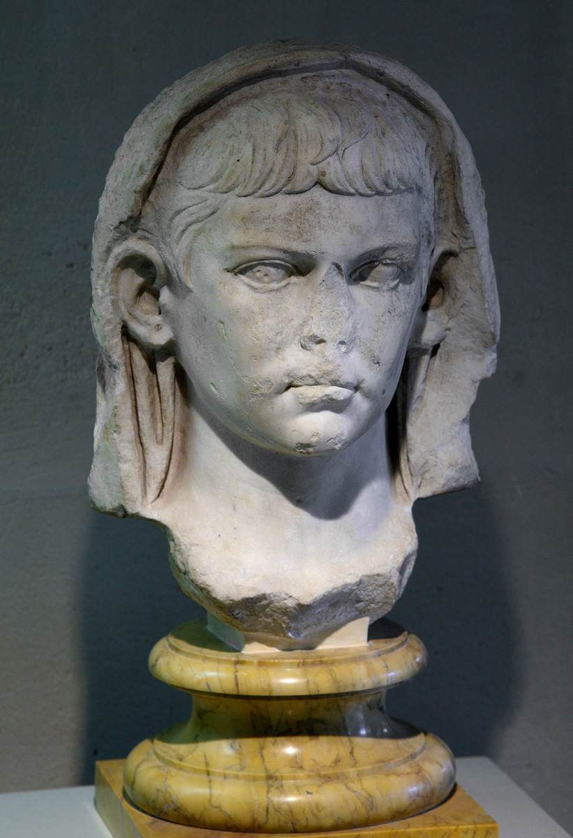 Nero Julius Caesar, the son of Germanicus and Agrippina the Elder. Marble. 1st century, ca. 23 CE. Tunis. Inv. No. 57.237. Paris, National Library, Cabinet des Médailles