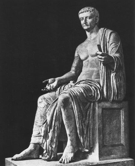 Statue of Tiberius from Privernum. Marble. Ca. 20—30s CE. Rome, Vatican Museums, Chiaramonti Museum, XXI. 3