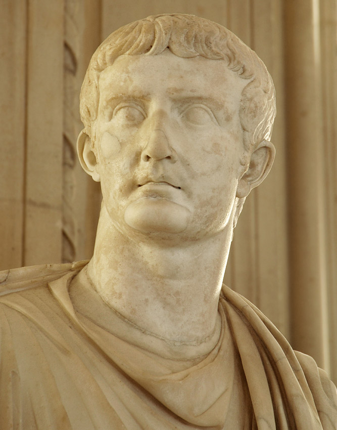 Statue of Tiberius in toga. Detail. Marble. Height 2.08 m. Inv. No. MR 355 (Ma 1248). Paris, Louvre Museum