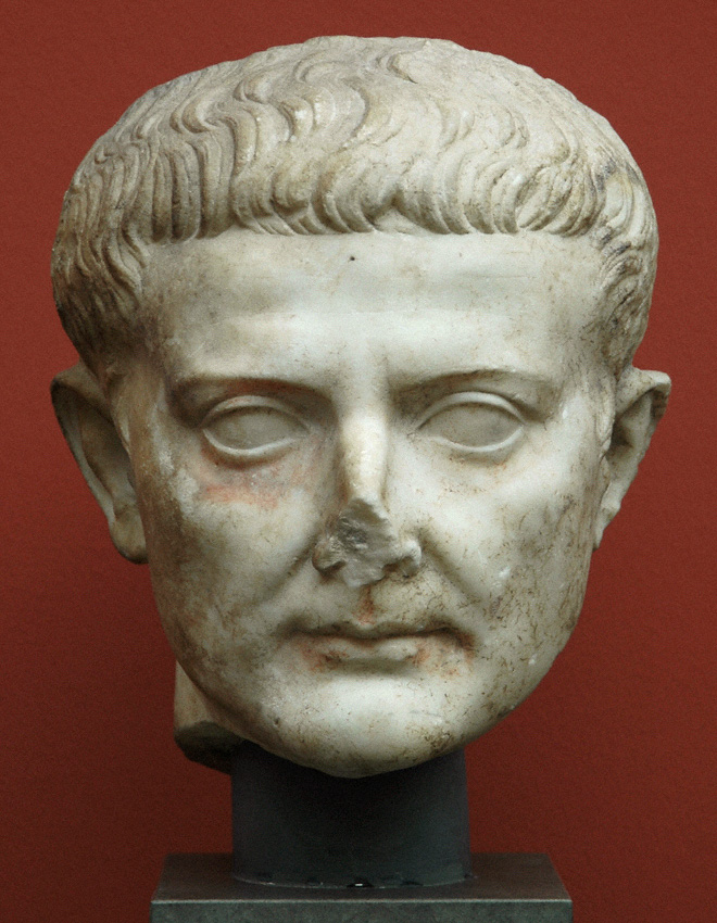 Head of Tiberius. Marble. Copy of 14—37 CE after an original of 10—20 CE.  Inv. No. 1750. Copenhagen, New Carlsberg Glyptotek