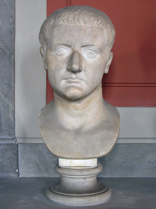 Bust with the head of Tiberius. Marble. The reign of Tiberius. Inv. No. 717. Rome, Vatican Museums, Pius-Clementine Museum, Gallery of the Busts, 126