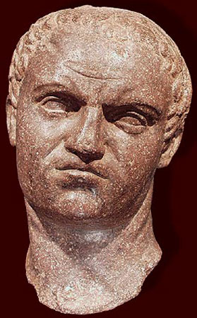 Head of the emperor Titus. Brown porphyry. Ca. 70—100 CE.  Royal-Athena Galleries